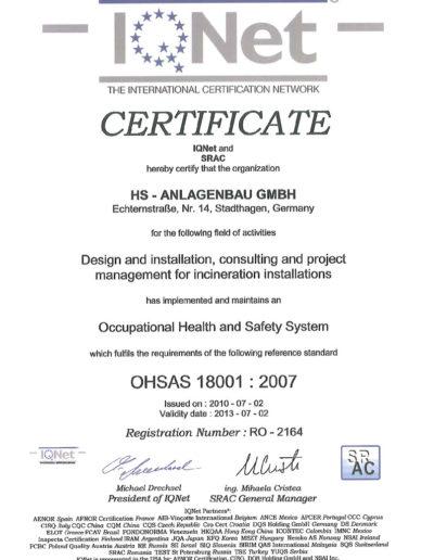Zertifikat - OHSAS 18001