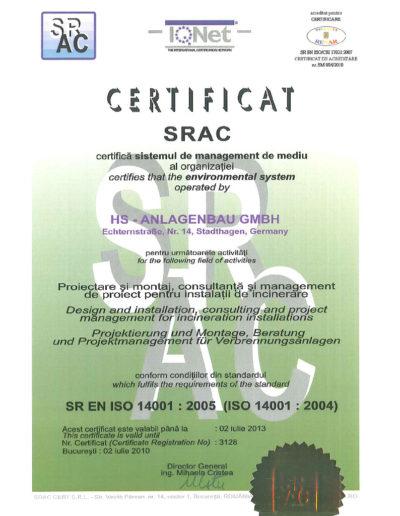 Zertifikat - SR EN ISO 14001