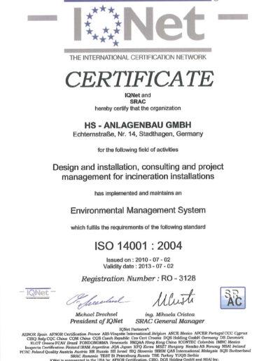 Zertifikat - ISO 14001